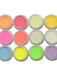 12 Neon Colors Phosphorescent FLUORESCENT Powder Glow In Dark Nail Art Acrylic Use