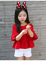 Girl Casual/Daily School Solid Blouse,Rayon Summer Spring Fall Half Sleeve Regular