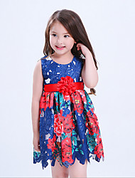 Girl's Casual/Daily Floral Dress,Cotton Polyester All Seasons Sleeveless