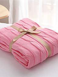 Knitted As per picture,Solid Solid 100% Cotton Blankets S:120*180cm M:180*200cm