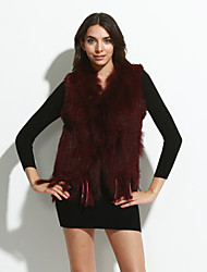 Женский На каждый день Однотонный Пальто с мехомПростое Зима Без рукавов,Кроличий мех Мех енота