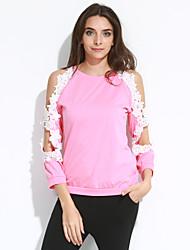 Tee-shirt Aux femmes,Mosaïque Sortie / Décontracté / Quotidien simple / Chic de Rue Toutes les Saisons Manches Longues Col Arrondi Rose