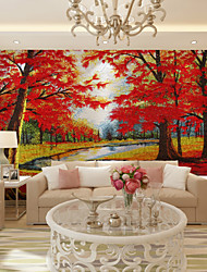 JAMMORY Art DecoWallpaper For Home Wall Covering Canvas Adhesive required Mural Red Woods XL XXL XXXL