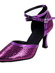 Women's Heels Spring Summer Fall Other D'Orsay & Two-Piece Leatherette Dress Stiletto Heel Sequin Buckle Purple Silver Gold Light Pink