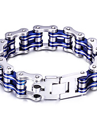 Kalen Cool Men Biker Bicycle Motorcycle Chain Male Bracelet & Bangle Fashion Black Blue Red Tri-Color 316L Stainless Steel Bike Chain Bracelet Jewelry