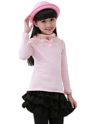 Girl's Cotton Fashion Solid Color Spring/Fall Going out/Casual/Daily Long Sleeve Lace High Collar Kid Undershirt Blouse