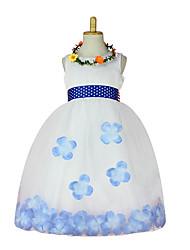 Ball Gown Tea-length Flower Girl Dress - Tulle Polyester Sleeveless Jewel with Flower(s) Sash / Ribbon