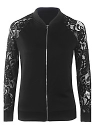Women's Casual/Daily Simple Fall / Winter Jackets,Patchwork Stand Long Sleeve White / Black Polyester Medium