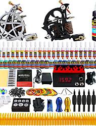 kit de tatouage complet 2 machines pro 54 encres alimentation aiguilles pédale poignées conseils tk261
