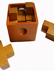 Educational Toy Kong Ming Lock Novelty Toy Square Wood Brown For Boys For Girls 2 to 4 Years 5 to 7 Years