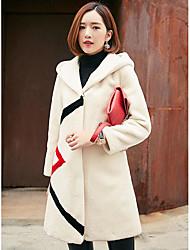 Damen Solide Einfach Lässig/Alltäglich Mantel Langarm Beige Schwarz Wolle
