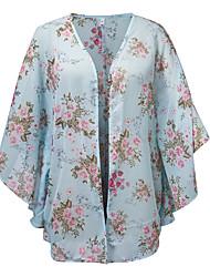 Feminino Blusa Para Noite Praia Boho Verão,Floral Azul Tipos Especiais de Couro Decote V Meia Manga Transparente