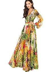Women's Going out Sexy Sheath Dress,Floral V Neck Maxi Long Sleeve Green Silk Fall High Rise Micro-elastic Medium