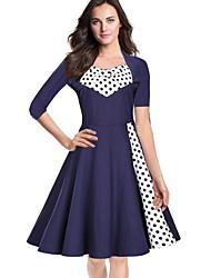 Mujer Vaina Vestido Tallas Grandes Sofisticado,Estampado Escote Cuadrado Hasta la Rodilla 3/4 Manga Azul Negro Algodón Poliéster Primavera