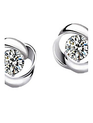 Stud Earrings Sterling Silver Simulated Diamond Silver Jewelry Casual 1 pair