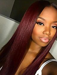 130% Density Brazilian Virgin Hair Full Lace Wig Long Straight Hair Dark Wine Color Virign Human Hair Lace Wig For Fashion Woman