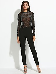 Women's Skinny JumpsuitsCasual/Daily / Club Sexy / Street chic See-through Blouses Hot Fix Rhinestone Solid Patchwork Crew Neck Long Sleeve