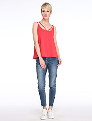 Women's Casual/Daily Sexy Summer Shirt,Solid Strap Sleeveless Red / White / Black Cotton Opaque