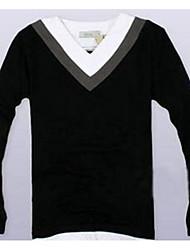 Herren Einfarbig Einfach Lässig/Alltäglich T-shirt,Tiefes V Frühling Langarm Schwarz Baumwolle Dick