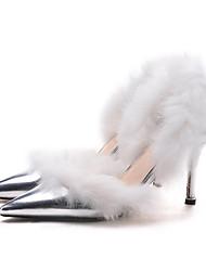 Feminino-Saltos-Inovador Sapatos clube-Salto Agulha-Prateado-Cashmere Outras Peles de Animais-Casamento Social Festas & Noite