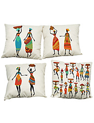 Set of 4 National style pattern Linen Pillowcase Sofa Home Decor Cushion Cover
