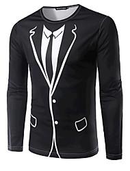 T-shirt Da uomo Per uscire Formali Semplice Attivo Primavera Autunno,Fantasia geometrica Rotonda Cotone Nero Manica lunga Medio spessore