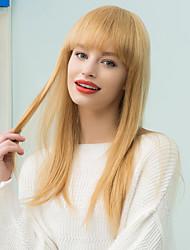 Natural Straight Long Neat Bang Human Hair Wig