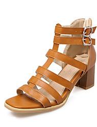 Feminino-Sandálias-Conforto Sapatos clube-Salto Grosso Salto de bloco-Marron Verde Tropa Rosa claro-Materiais Customizados Courino-