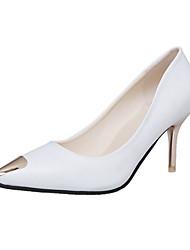 Damen High Heels Komfort PU Frühling Walking Komfort Stöckelabsatz Weiß Schwarz Rot Rosa Unter 2,5 cm