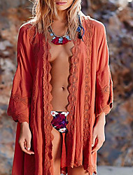 Women's Bandeau Cover-Up,Lace Up Polyester Orange