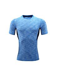 Unisex Short Sleeve Running T-shirt Tops Breathable Comfortable Summer Sports Wear Running LYCRA® Slim Blue Floral / Botanical