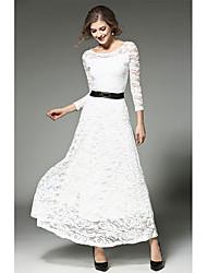 Gaine Robe Femme Sortie Vacances Sexy,Couleur Pleine Col Arrondi Midi ½ Manches Blanc Noir Rayonne Printemps Automne Taille Haute