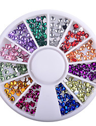 1 Box Heart Shape Acrylic Nail Art Decoration Wheel Glitter 3D Design Rhinestone Charm Jewelry Nail Tools