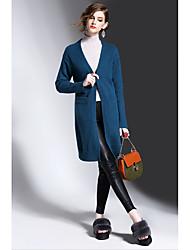 Damen Solide Einfach Lässig/Alltäglich Mantel,Frühling Winter V-Ausschnitt Langarm Auf Links waschen Trocknen Standard Wolle