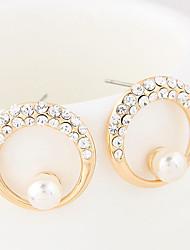 Stud Earrings Hoop Earrings Rhinestone Rhinestone Simulated Diamond Alloy Fashion Gold Silver Jewelry Wedding Daily 1 pair