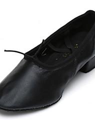 Customizable Women's Dance Shoes Leatherette Leatherette Ballet Heels Low Heel Practice Beginner Indoor Performance Black Pink Red