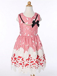 Princess Girls Printed Sleeveless Lace Dress With Necklace