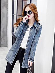 unterzeichnen neue koreanische Version des dünnen Frauen Tops&# 39; s Jeansjacke Mädchen lange Abschnitt mit langen Ärmeln Denimmantel