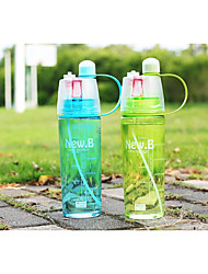 Creative glass outdoor sports bottle Students summer spray plastic with glass bottle With cover space cup