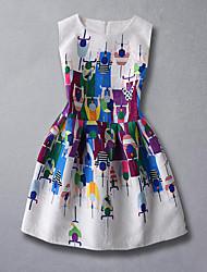 Girl's Print Dress,Rayon Summer Spring Fall Sleeveless