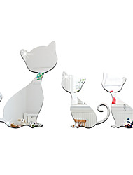 3D Wall Stickers Wall Decals Style Cartoon Cute Cat Mirror Wall Stickers