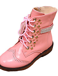 Girl's Boots Spring Fall Winter Comfort PU Casual Low Heel Magic Tape Black Pink Red Other