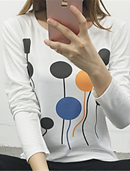 Fashion Round Neck Long Sleeves Slim Wild Upper Outer Garment Appointment Play Home Daily Leisure Balloon Printing T-Shirt