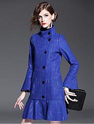 Damen Solide Street Schick Lässig/Alltäglich Mantel,Herbst Winter Ständer Langarm Auf Links waschen Trocknen Standard Polyester Wolle