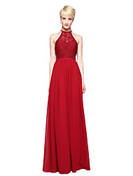 A-Line Jewel Neck Floor Length Chiffon Lace Bridesmaid Dress with Appliques Pleats by LAN TING BRIDE®