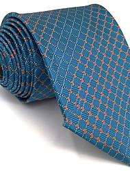 B5 Men's Necktie Tie Blue Checked 100% Silk Business Fashion Wedding For Men