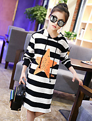 Girl's Cotton Sweet Fashion Daily/Go Out Spring/Fall Print Long Sleeve Dress Children Stripes Hooded Long T-shirt
