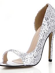 Damen-Sandalen-Kleid Lässig Party & Festivität-Kunststoff-Stöckelabsatz-Komfort-Silber Gold