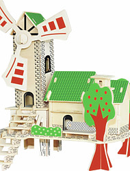 Jigsaw Puzzles Wooden Puzzles Building Blocks DIY Toys  Green Sunshine Cottage 1 Wood Ivory Model & Building Toy