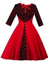 Women's Plus Size Party Vintage Sheath Dress,Polka Dot Round Neck Knee-length ¾ Sleeve Cotton Polyester Red Summer High Rise